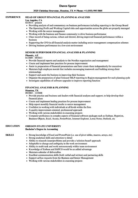 financial planning and analysis resume exles financial analysis planning resume sles