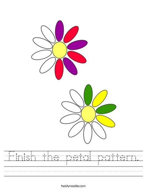 flower pattern worksheet finish the petal pattern worksheet twisty noodle