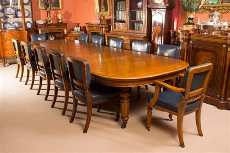 antique oak dining table and 12 chairs c 1870
