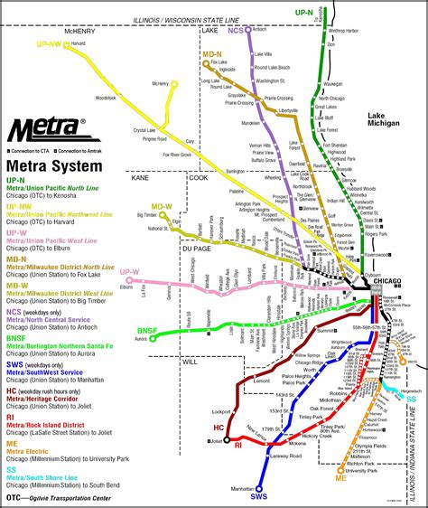 chicago railroad map chicago metra map chicago il mappery