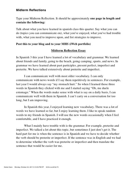 how to write a one page reflection paper self reflective essay exles why i should receive a