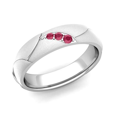 3 ruby anniversary ring in 14k gold brushed wedding band