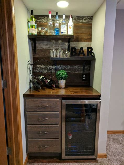 bar nook stock cabinet stained gray butcher block