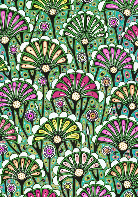 pattern artists floral art drawing bright stylized flower pattern art