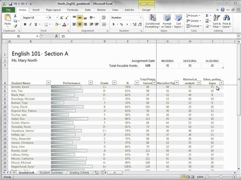 download and start using an excel 2010 gradebook template