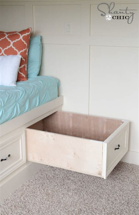 diy under bed drawers diy built in storage bed shanty 2 chic