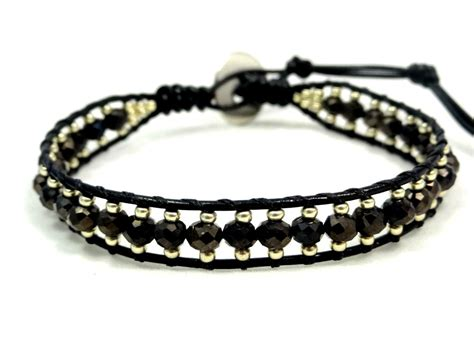 leather and bead bracelet leather wrap bracelet leather bracelet seed bead