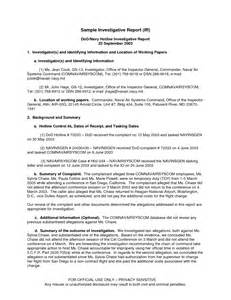 Investigation Report Writing Sample Best Photos Of Investigation Report Template Sample