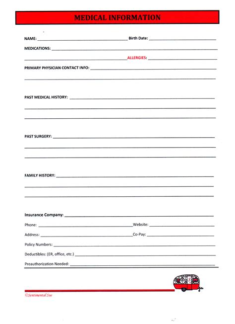 Sentimental Sue : WORKAMPER WORKSHEETS   MEDICAL INFORMATION