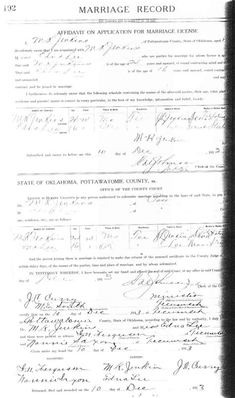 Indian Territory Marriage Records Burton Families