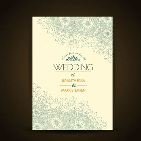 wedding invitation free vector templates floral wedding invitation template vector free