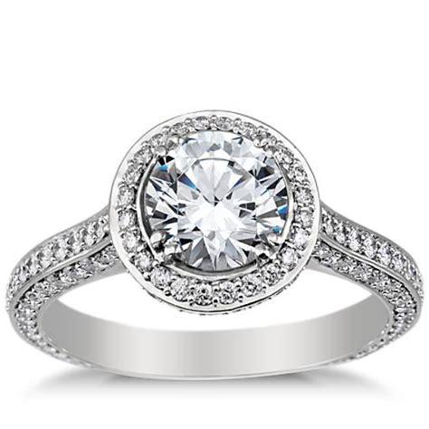 split shank halo engagement ring in platinum