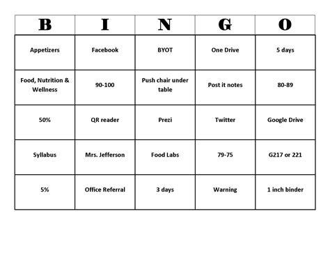 breaker bingo card template breaker bingo card template best sles templates
