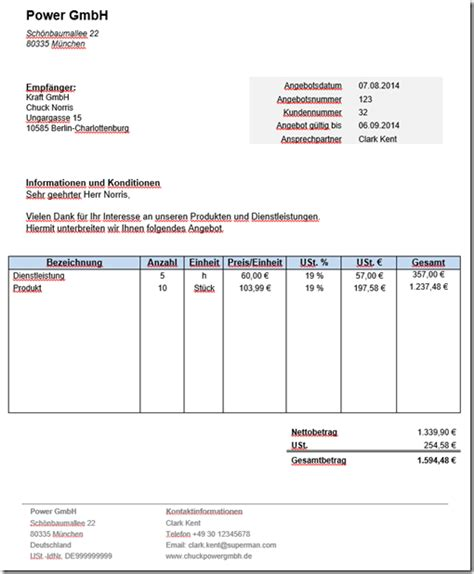 Angebot Preisanfrage Muster kostenlose angebotsvorlage in word mit anleitung