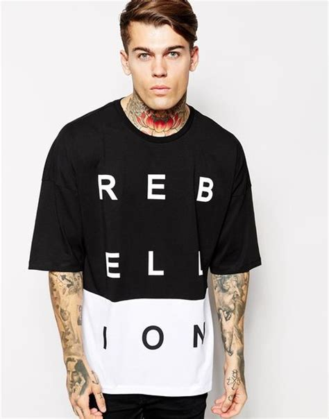 Oversized Printed T Shirt Mens by Asos Oversized T Shirt With Cut Sew Rebellion Print In Black For Blackwhite Lyst