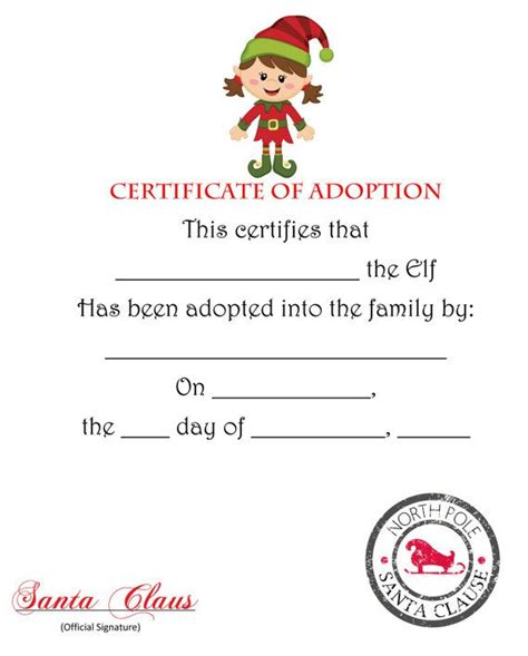 Adopt An On The Shelf by On The Shelf Certificate Of Adoption