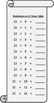 worksheet on 12 times table printable multiplication