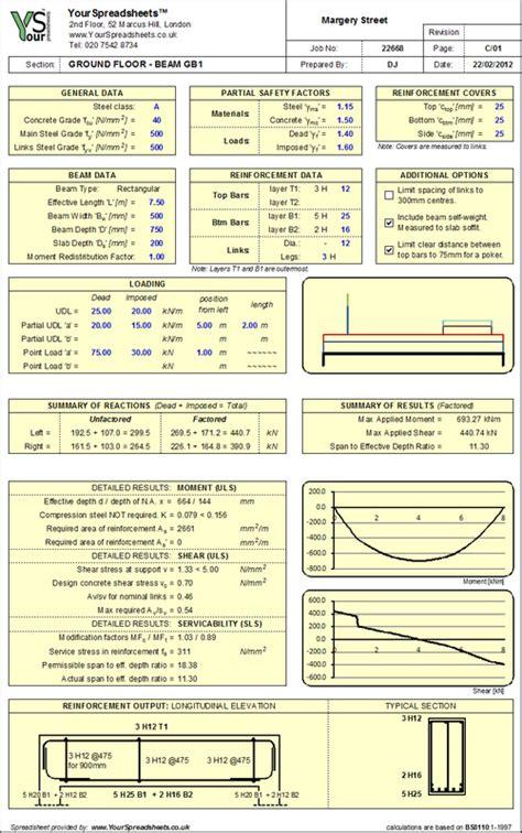 Concrete Column Design Spreadsheet by Concrete Spreadsheets
