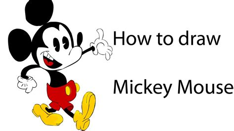 learn how to draw mickey mouse step by step easy drawing how to draw mickey mouse coloring step by step youtube