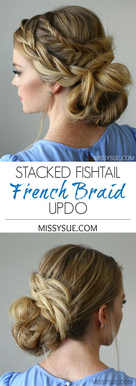how to stack hair step by step stacked fishtail french braid updo women s world