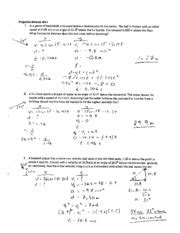 projectile motion worksheet 1 solution