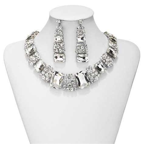 prom jewelry set rhinestone necklace and earrings