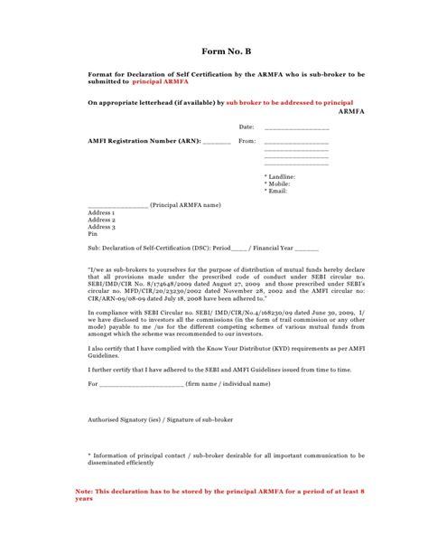 self certification letter template self declaration form 2010 2011
