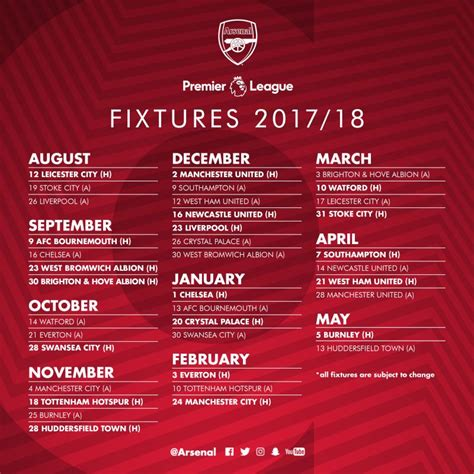 epl result 2017 18 2017 18 arsenal fixtures released by premier league