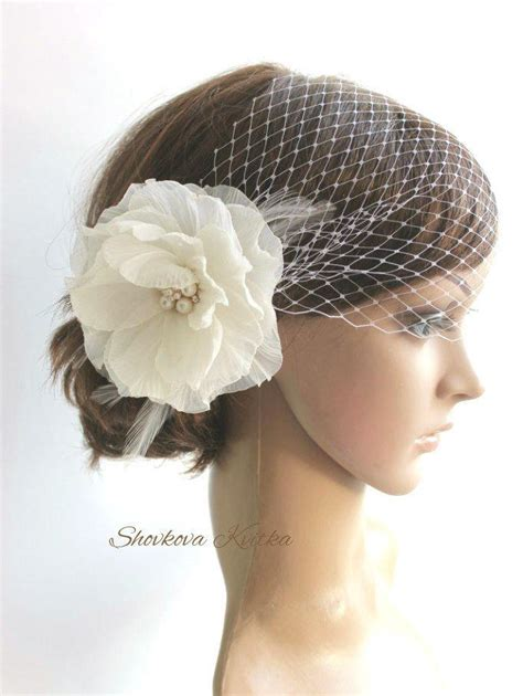 Wedding Hair With Veil And Headpiece by Wedding Veil Headpiece White Birdcage Veil Ivory Flower