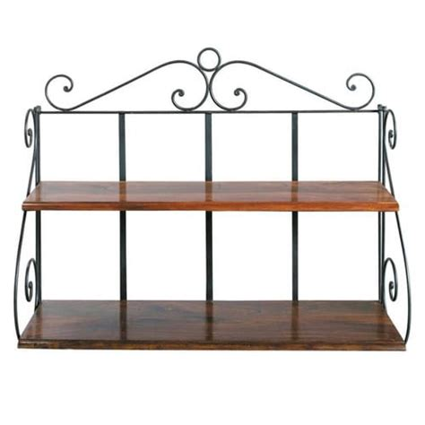 Wrought iron wall shelf unit w 100cm lub 233 ron maisons du monde