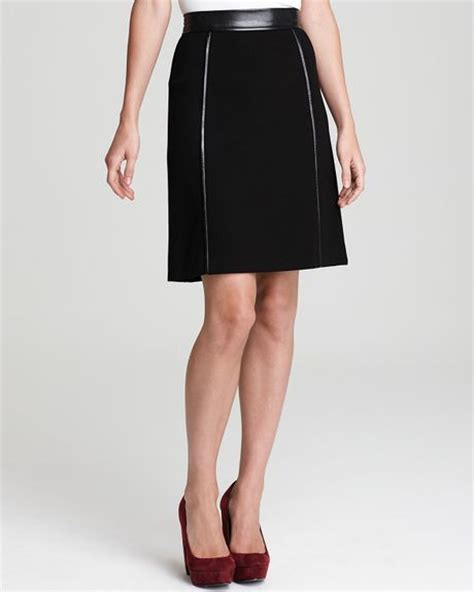 dkny a line skirt with leather trim in black lyst