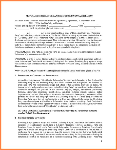 non circumvention non disclosure agreement template 4 non circumvention and non disclosure agreement