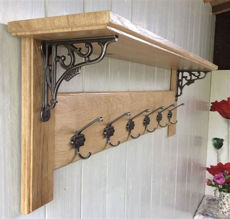 country style coat rack vintage style solid wood oak coat rack with shelf