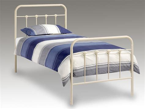 single metal bed frame julian bowen papplewick single ivory metal bed frame