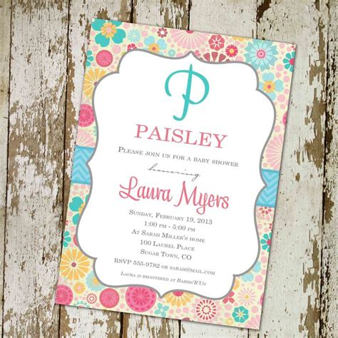 Baby Shower Name by Floral Baby Shower Invitation Baby Shower Monogram
