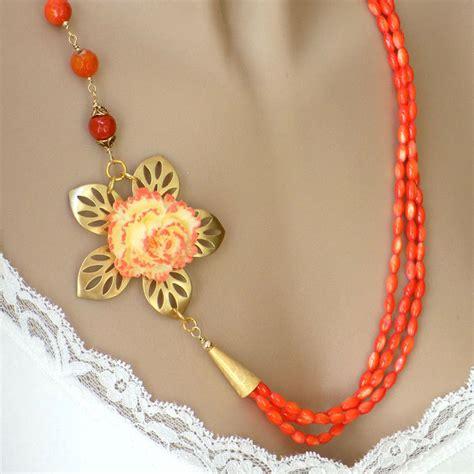 orange beaded necklace orange necklace beaded necklace flower by blondepeachjewelry
