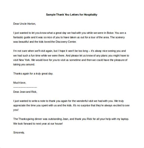 thank you letter exles hospitality 17 thank you letter templates free sle exle