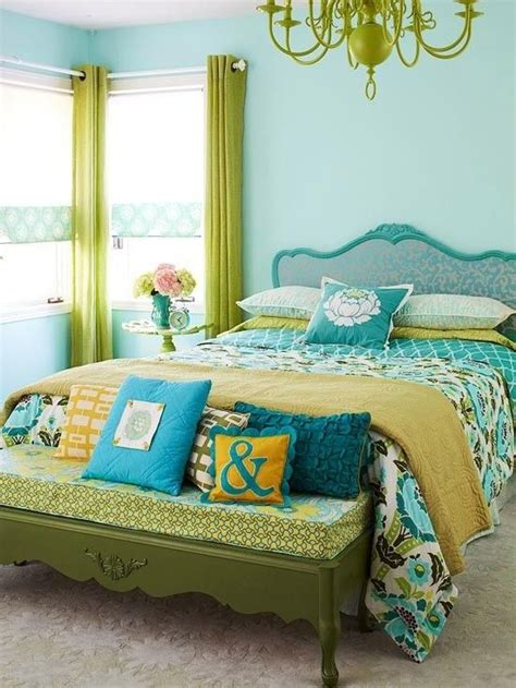 Lime Green And Turquoise Bedroom by