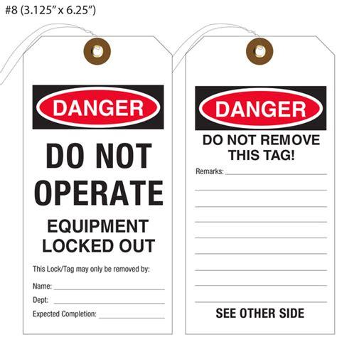 printable equipment tags custom printed lockout tagout osha hang tags st