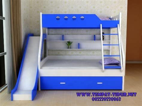 Ranjang Plus Kasur tempat tidur tingkat minimalis plus perosotan tempat