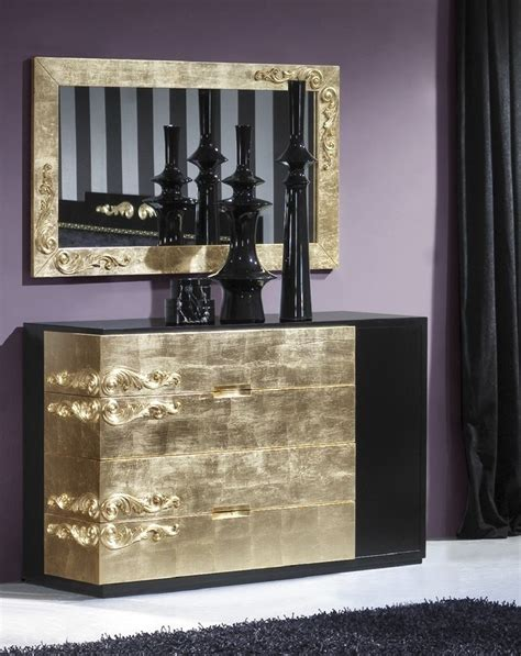 Black And Gold Chest Of Drawers by Luxus Carved Wide Black Gold Leaf Chest Of Drawers