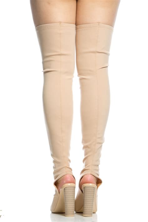nude woven chunky cut  thigh high boots  cicihot boots