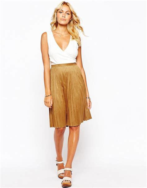 fashion union fashion union faux suede pleat midi skirt