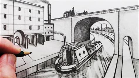 how to draw a narrow boat how to draw perspective a bridge and narrow boat youtube