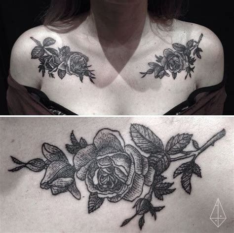 rose branch tattoo chest shoulder floral flower peoney branch bud