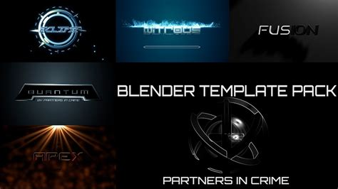 Blender Intro Template Pack By Partners In Crime Youtube Blender Intro Templates