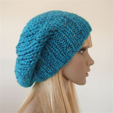 slouchy knit beanie blue knit hat womens hat knit slouchy hat slouchy