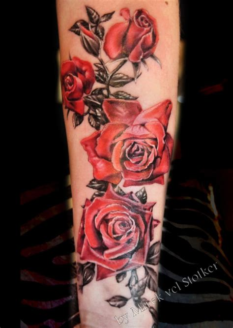 dark red rose tattoo roses with black and grey leaves by mirek vel