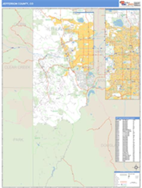 zip code map jefferson county colorado jefferson county co zip code wall map basic style by
