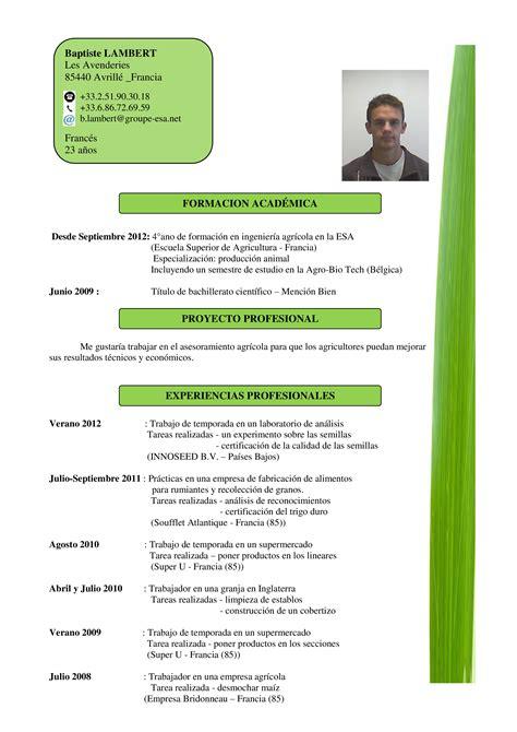 Modelo De Curriculum Vitae Que Impacte curr 237 culum vitae baptistelambert